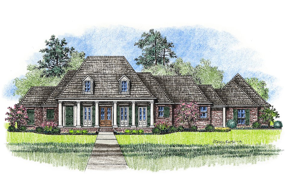 Acadian style house plans with front porch for Louisiana house plans